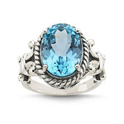 Genuine Sky Blue Topaz Sterling Silver Ring