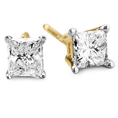 1/2 CT. T.W. Princess Diamond 14K Yellow Gold Stud Earrings