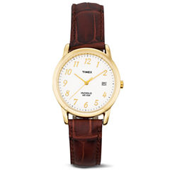 Timex® Mens Gold-Tone Brown Leather Strap Watch