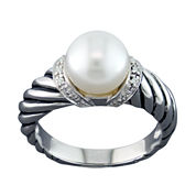Cultured Freshwater Pearl & Diamond Accent Ring