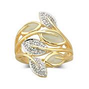 Jade Leaf Ring 14K Over Sterling Silver