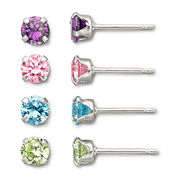Child's Cubic Zirconia Stud Set Sterling Silver