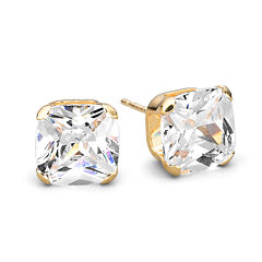 14K Yellow Gold 4mm Cubic Zirconia Studs