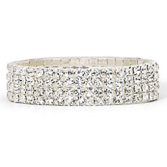 Vieste® Crystal Silver-Tone 4-Row Stretch Bracelet