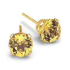 Genuine Citrine Round Stud Earrings