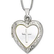 Mother-of-Pearl Heart & Cross Locket