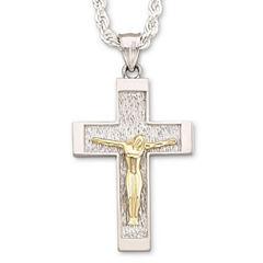Mens Cross Pendant Sterling Silver & 18K/Sterling Necklace