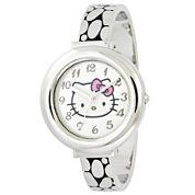 Hello Kitty® Silver-Tone Hinged Bangle Watch
