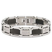 Men's Diamond Cross Bracelet Stainless Steel
