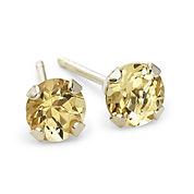 4mm Genuine Citrine 10K Gold Stud Earrings