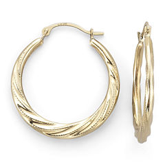 14K Yellow Gold Patterned Hoop Earrings