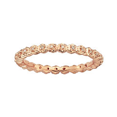 Personally Stackable 18K Rose Gold Over Silver Diamond-Accent  Ring