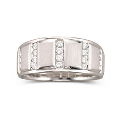 Mens 1/3 CT. T.W. Diamond Band Sterling Silver