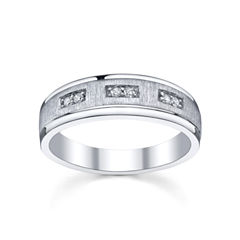 Mens 1/10 CT. T.W. Diamond Band Sterling Silver