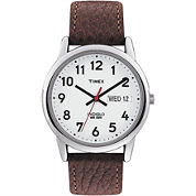 Timex® Mens Brown Leather Strap Watch