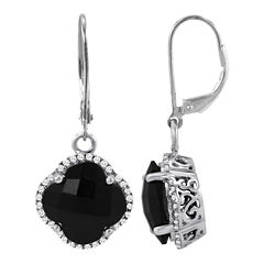 Genuine Onyx Earrings w/ Created White Sapphires