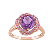 Genuine Amethyst and Pink Sapphire Ring