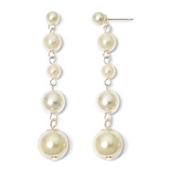 Vieste Silver-Tone Pearlized Glass Bead Multi-Drop Earrings