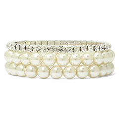 Vieste Silver-Tone Pearlized Glass Bead 3-pc. Stretch Bracelet