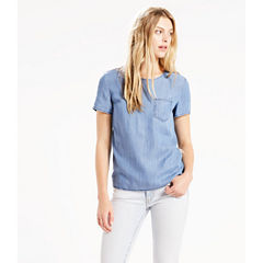 Levi's® Short Sleeve Scoop Neck Chambray Blouse