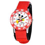 Disney Mickey Mouse Boys Red Strap Watch-W000003