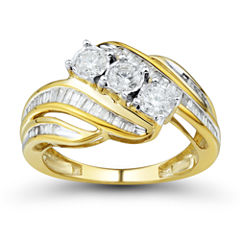 Womens 1 CT. T.W. Round White 10K Gold 3-Stone Ring