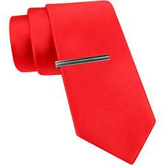 JF J. Ferrar® Slim Satin Tie and Tie Bar Set
