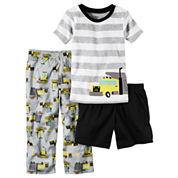 Carter's Boys 3-pc. Short Sleeve Kids Pajama Set-Toddler