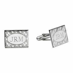 Personalized Plaid Pattern Cuff Links