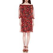 Weslee Rose Off Shoulder Sleeve Drop Waist Dress