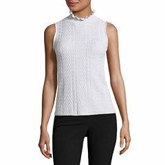 Worthington Sleeveless Mock Neck Pullover Sweater