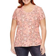St. John's Bay Short Sleeve V Neck T-Shirt-Womens Plus