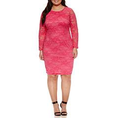 Bisou Bisou Long Sleeve Lace Sheath Dress-Plus