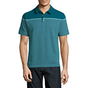Claiborne Short Sleeve Stripe Cotton Polo Shirt