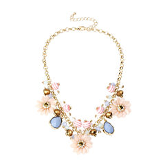Mixit™ Gold-Tone Pastel Flower Bead Frontal Necklace