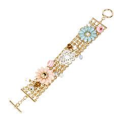 Mixit™ Gold-Tone Mixed Pastel Flower Chain Bracelet