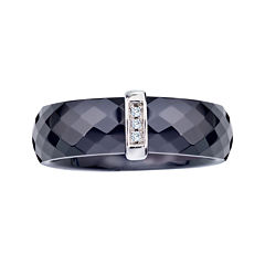 Diamond-Accent Black Ceramic Band