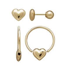 Infinite Gold™ Kids 14K Yellow Gold Heart Stud and Hoop 2-pr. Earring Set