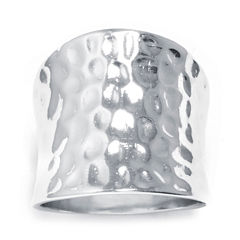 Sterling Silver Concave Hammered Ring