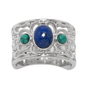 Enhanced Turquoise and Dyed Lapis Sterling Silver Wide Ring