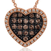 LIMITED QUANTITIES Le Vian Grand Sample Sale White and Chocolate Diamond Heart Pendant Necklace