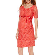 Maternity Elbow-Sleeve Lace Dress with Bow Belt - Plus