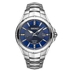 Seiko Coutura Mens Silver Tone Bracelet Watch-Sne443