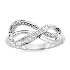 Infinite Promise Womens 1/10 CT. T.W. White Diamond Sterling Silver Cocktail Ring