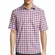Claiborne Button-Front Short Sleeve Pattern Woven