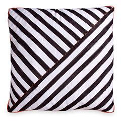 Scribble Diagnol Stripe Black Throw Pillow