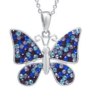 Multicolor Crystal Silver-Plated Butterfly Pendant Necklace