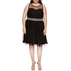 My Michelle Sleeveless Beaded Party Dress-Juniors Plus