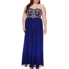 My Michelle Sleeveless Embellished Evening Gown-Juniors Plus