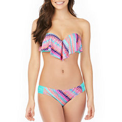 Arizona Stripe Flounce Swimsuit Top or Hipster Bottom-Juniors